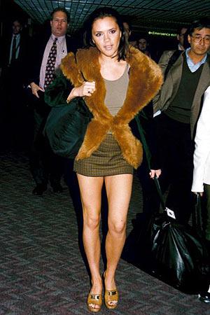 Victoria Beckham Posh Spice Tartan Mini Fur Coat StyleChi