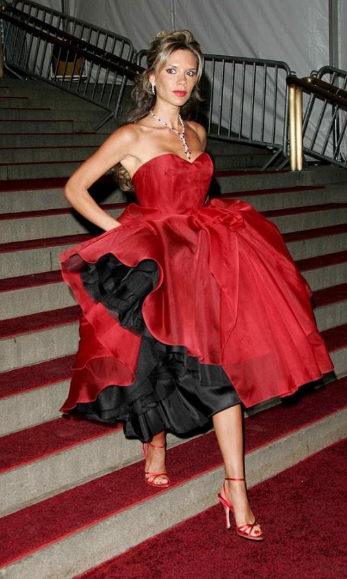 Victoria Beckham Red Sweetheart Neckline BUstier Ball Gown StyleChi