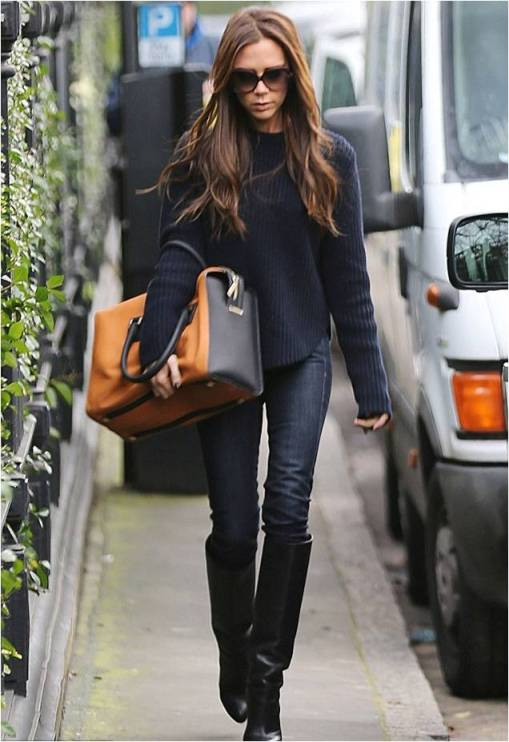 Victoria Beckham Ribbed Navy Knitted Sweater Skinny Jeans Black Knee High Boots Orange Oversize Bag Sunglasses StyleChi