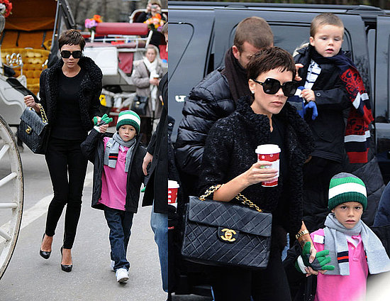 Victoria Beckham StyleChi Black Textured Jacket Jeans Quilted Chanel Bag Romeo Pixie Crop Sunglasses