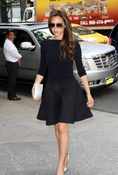 Victoria Beckham StyleChi Black Top Skirt Nude Heels Clutch Sunglasses