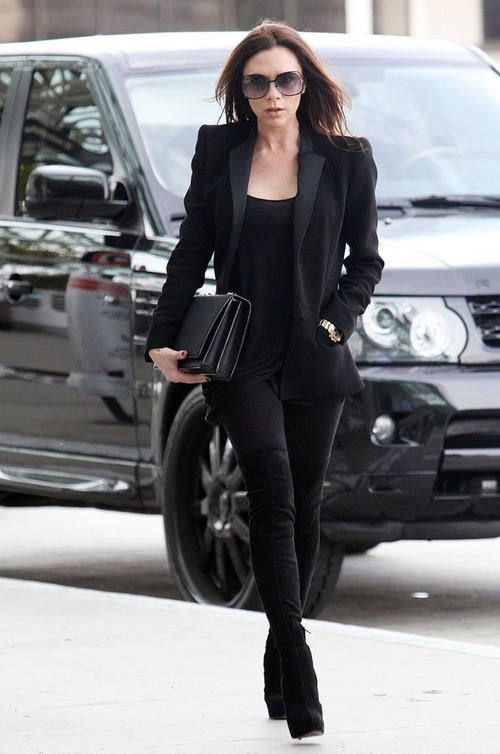 Victoria Beckham StyleChi Casual Black Outfit off duty