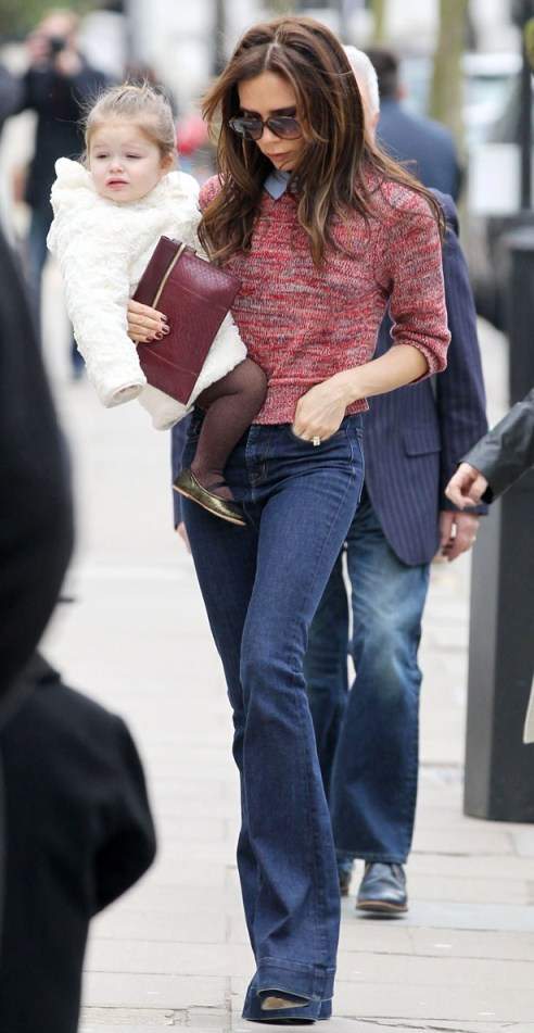 Victoria Beckham StyleChi Daughter Sunglasses Flares Marl Red Sweater Blue Shirt Burgundy Clutch Casual