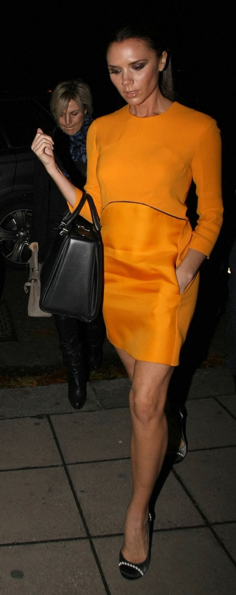 Victoria Beckham StyleChi Orange Mid Length Sleeves