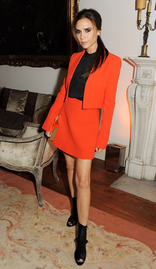Victoria Beckham StyleChi Red Orange Blazer Skirt Black Peep Toe Boots Black Shirt