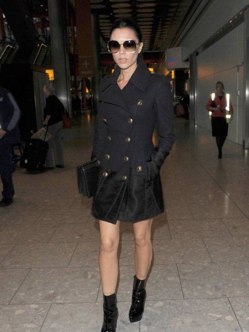 Victoria Beckham Sunglasses Mid-Length Navy Military Coat Black Patent Boots StyleChi