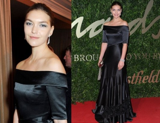 Arizona Muse Louis Vuitton British Fashion Awards 2013 Black Off The Shoulder Satin Gown