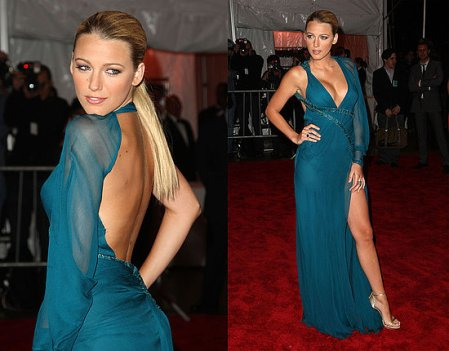Blake Lively StyleChi 2009 Teal Split Dress Asymmetric Backless Ponytail Deep V-Neck