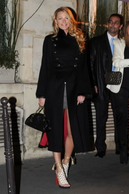 Blake Lively StyleChi 2011 Long Black Military Coat White Strappy Sandals