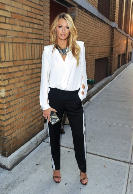 Blake Lively StyleChi Barely There Brown Heels Black Trousers White Side Stripe Statement Necklace