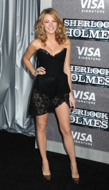 Blake Lively StyleChi Black Lace Overlay Bustier Bodysuit Dress