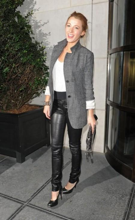 Blake Lively StyleChi Black Leather Trousers Grey Coatigan Jacket White Top