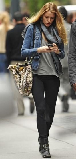 Blake Lively StyleChi Black leggings Studded Biker Boots Denim Jacket Checkered Scarf Grey Top Patterned Bag
