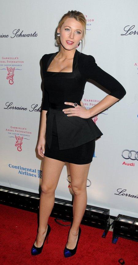 Blake Lively StyleChi Black Peplum Dress Square Neckline Blue Toe Cap Heels LBD
