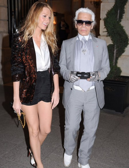 Blake Lively StyleChi Black Sequin Blazer WHite Shirt Black Shorts Karl Lagerfeld