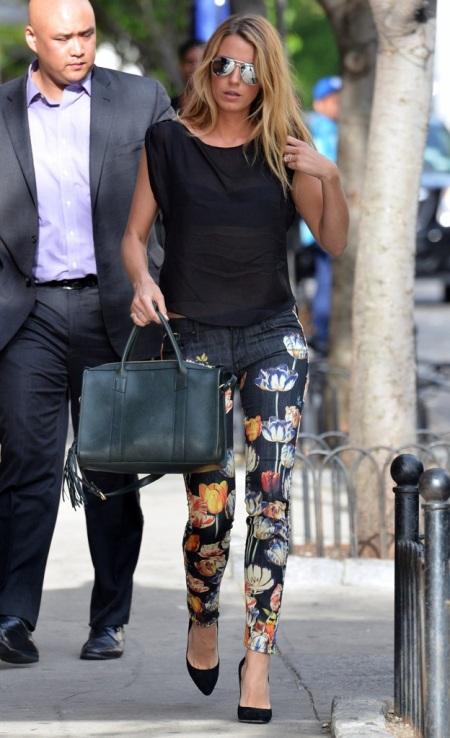 Blake Lively StyleChi Black Sleeveless Sheer Top Floral Print Blue Denim Jeans Pointed Toe Heels Aviator Sunglasses