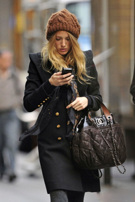 Blake Lively StyleChi Brown Knitted Beanie Nacy Gold Button Military Coat Quilted Chanel Bag