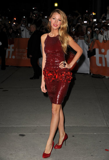 Blake Lively StyleChi Dark Red Shiny Dress Feathers Court Shoes High Heels
