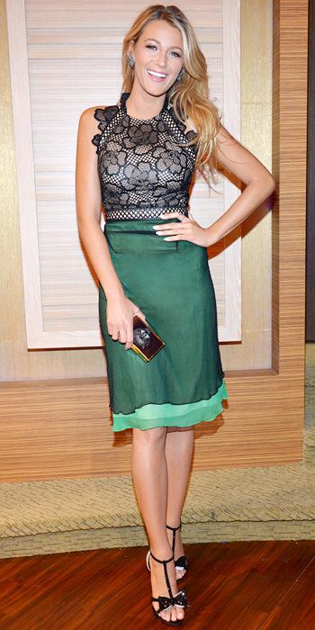 Blake Lively StyleChi Floral Green Black Marios Schwab Dress Black Bow Giuseppe Zanotti Heeled Sandals