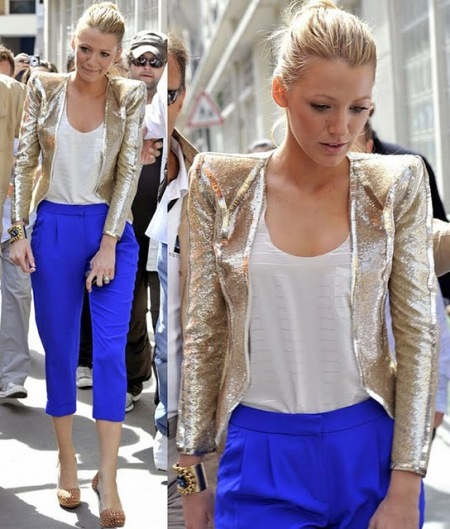 Blake Lively StyleChi Gold Glitter Jacket White Tank Top Cobalt Blue Cropped Trousers Studded Heels