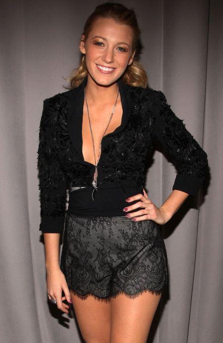 Blake Lively StyleChi Lace Overlay Grey Scallop Edge Shorts Black Cropped Jacket Long Chain Necklace Ponytail