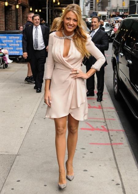 Blake Lively StyleChi Long Sleeve Light pink Wrap Dress Embellished Neck Deep Plunge V-Neck
