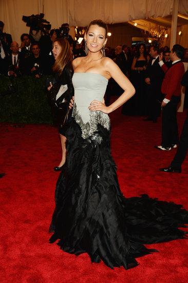 Blake Lively StyleChi Met Gala 2013 Grey Bustier Dress Black Dramatic Trail Statement Earrings