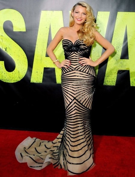 Blake Lively StyleChi  Nude Bustier Dress Black Sequin Ribbing