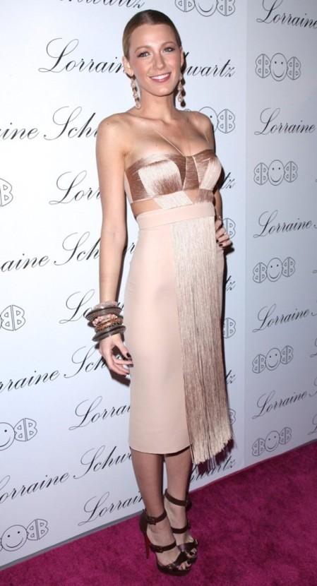 Blake Lively StyleChi Nude Bustier Fringed dress Statement Earrings Bracelets Strappy Brown Heels
