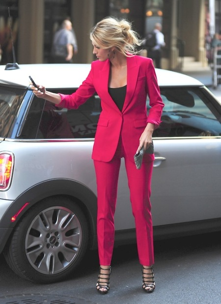 Blake Lively StyleChi Pink Red Suit Black Top Strappy Sandals