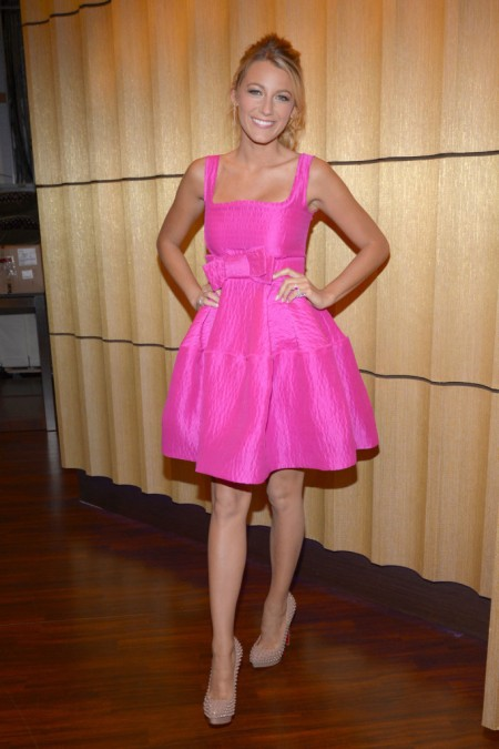 Blake Lively StyleChi Pink Square Neckline Bow Puff Out Dress Studded Heels