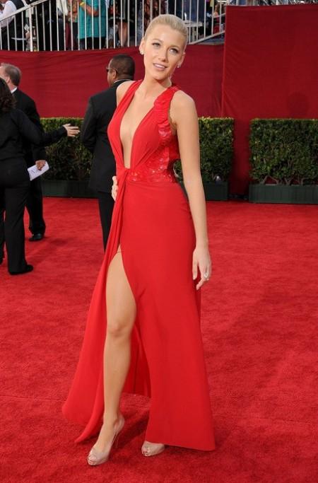 Blake Lively StyleChi Red Deep V-Neck Plunge Split Dress Nude Peep Toe Heels