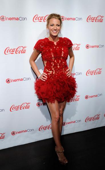 Blake Lively StyleChi Red Mini Dress Ruffles Embellished Mesh Dress