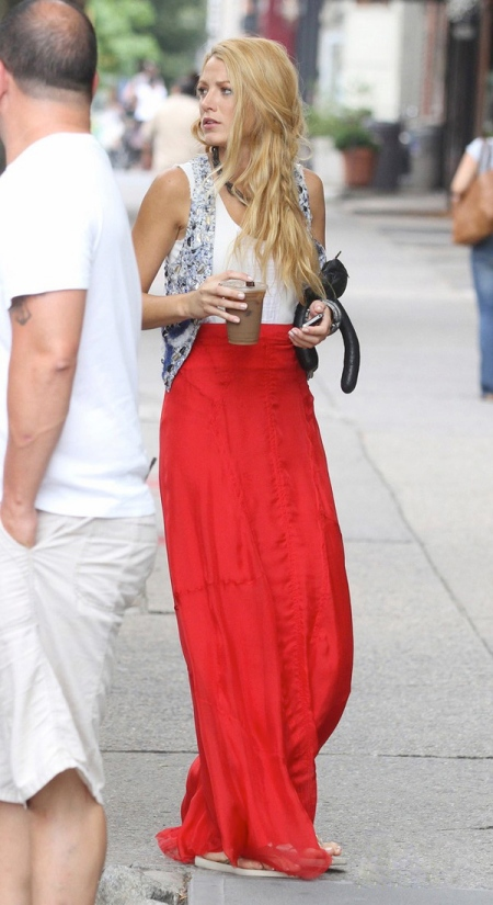 Blake Lively StyleChi Silver Embellished Waistcoat WHite Tank Top Red High Waist Maxi Skirt Hippy Style Braid