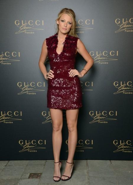 Blake Lively StyleChi Venice Red Carpet Burgundy Sleeveless Sequin Mini Dress