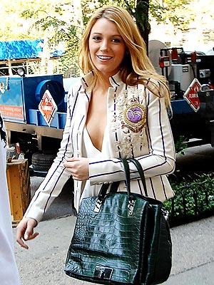 Blake Lively StyleChi White Black Striped Blazer Coat Of Arms Green Crocodile Leather Handbag