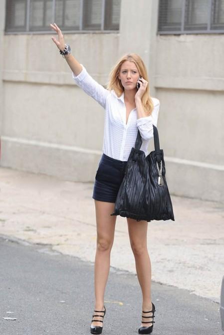 Blake Lively StyleChi White Shirt Black Shorts Multi Strap Mary Janes
