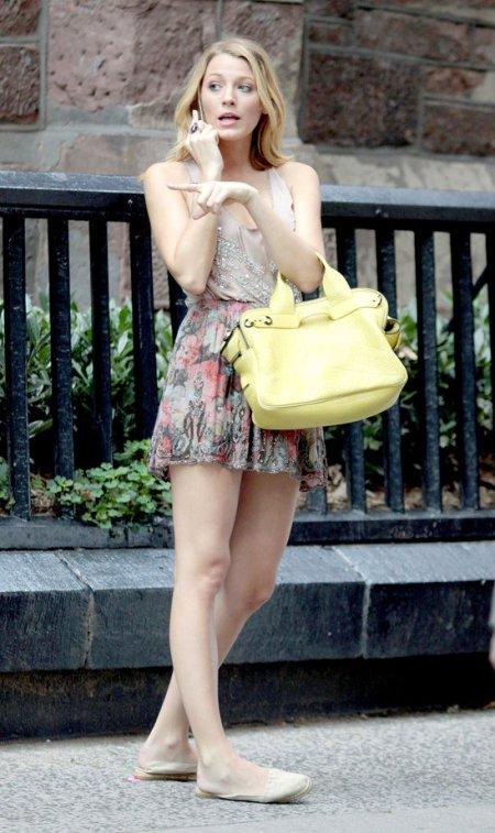 Blake Lively StyleChi Yellow Handbag Embellished Nude Tank Top Patterned High Waist Skirt