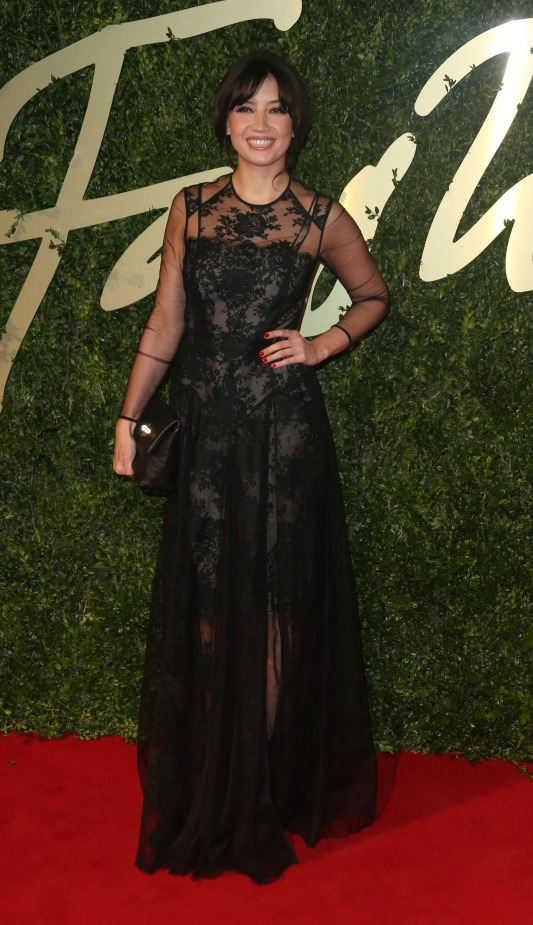British Fashion Awards 2013 StyleChi Daisy Lowe Long Sleeve Black Lace Overlay Gown