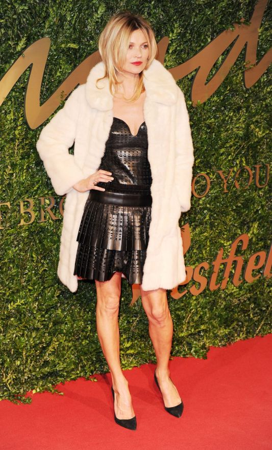 British Fashion Awards 2013 StyleChi Kate Moss Black Lazer Cut Dress Pointed Toe Heels White Fur Coat