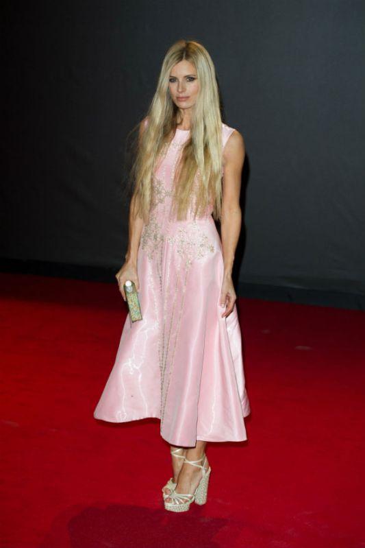British Fashion Awards 2013 StyleChi Laura Bailey Light Pink Embellished Midi Sleeveless Dress