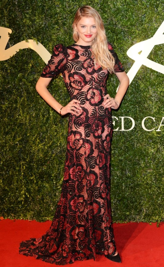 British Fashion Awards 2013 StyleChi Lily Donaldson Red Black Floral Mid Sleeve Gown