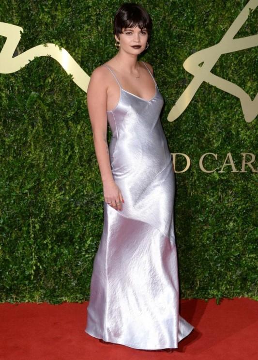 British Fashion Awards 2013 StyleChi Pixie Geldof Silver Silky Spaghetti Strap Cami Dress