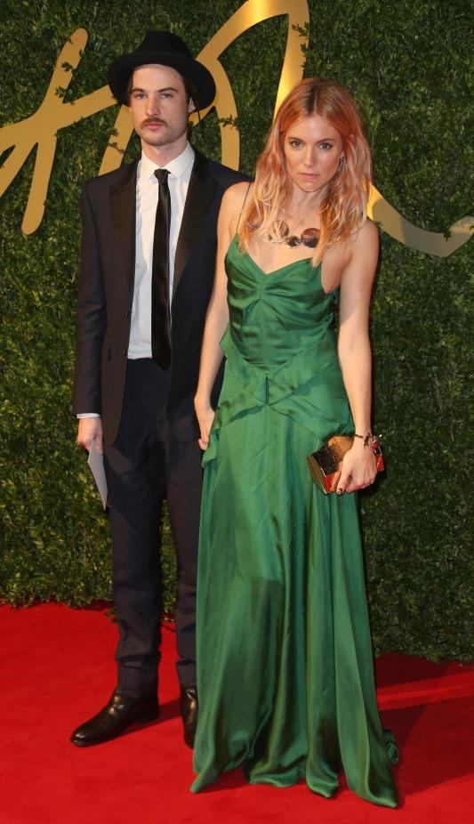 British Fashion Awards 2013 StyleChi Sienna Miller Boyfriend Green Spaghetti Strap Cami Dress