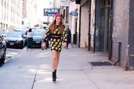 Cara Delevingne StyleChi Bart Simpson Long Sleeve Cropped Top High Waist Mini Lace Up Wedges Red Beanie Hat