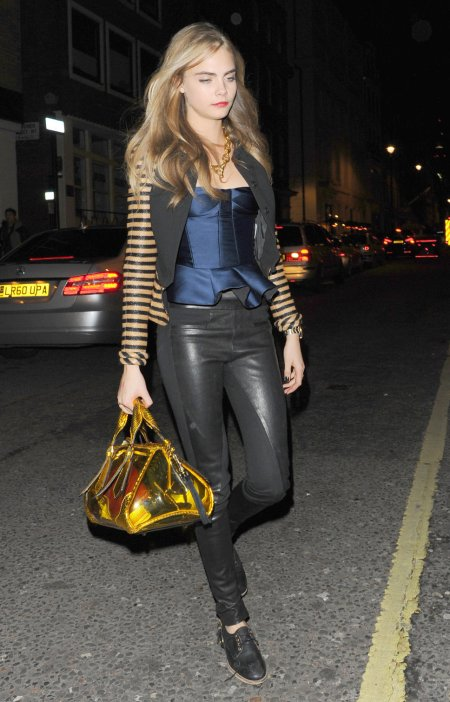 Cara Delevingne StyleChi Black Part Leather Trousers Shiny Blue Peplum Top Striped Jacket Lace Up Shoes