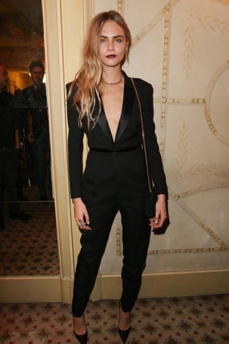 Cara Delevingne StyleChi Black Suit jumpsuit Belt Dark Lip