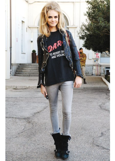 Cara Delevingne StyleChi Bouffant Hair Black Red Print T-Shirt Grey Skinny Jeans Leather Jacket Biker Boots