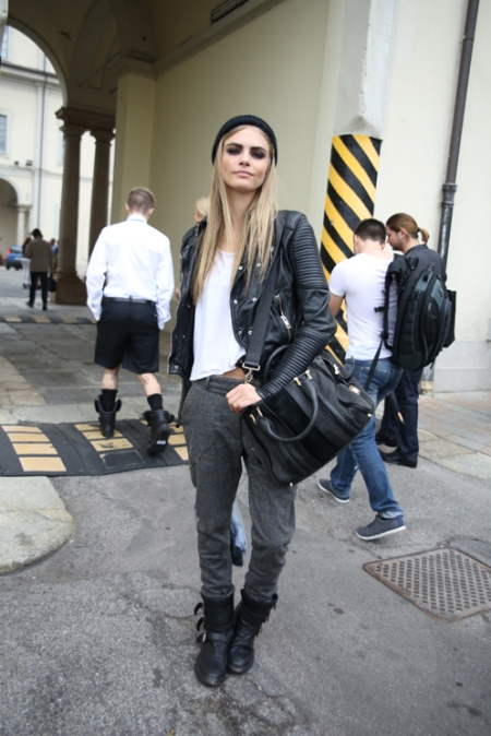 Cara Delevingne StyleChi Dark Grey Masculine Trousers Black Biker Boots Leather Jacket Beanie Hat White T-Shirt