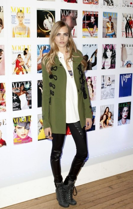 Cara Delevingne StyleChi Green Coat White Shirt Lace Bra Leather Panel Trousers Lace Up Wedges